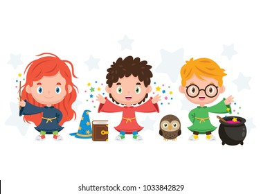 3 cute Wizard Kids with the pot, hat, wand, book and the owl. 100% vector layered