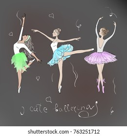 3 cute young ballerinas dancing on pointe, ballet shoes in flower tutu skirt. Vector illustration