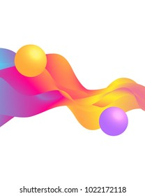 3 d balls and colorful waves on white background.Vector illustration