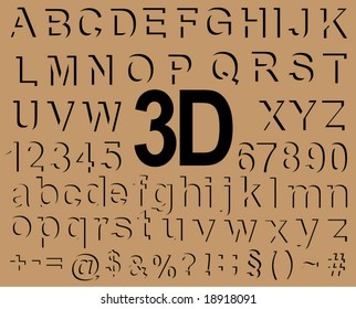 3 D effect alphabet
