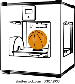 3 D printer. Vector illustration on white background. Basketball made with 3 D printer.