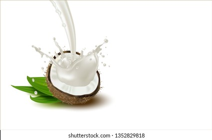 3 d. Ripe coconut with white flesh and palm leaves on a white background. Splash of coconut milk. Isolated Coconut Half.