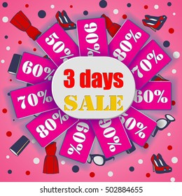 3 days of sale. Pink Women's banner. vector illustration