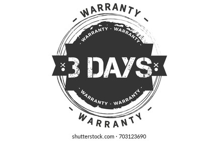 3 days warranty vintage grunge rubber stamp guarantee background