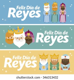 3 different banner. Happy epiphany in three different colors. Christmas vectors written in spanish