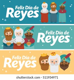 3 different banner. Happy epiphany written in spanish in three different colors. Christmas vectors