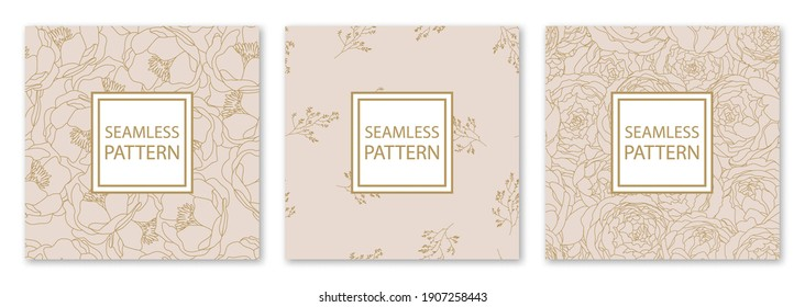 3 Different flower vector seamless patterns. Romantic chic floral textures can be used for printing onto fabric and paper or scrap booking. Pink, white and gold colors. For baby, girl and woman.