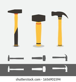 3 different hummer icons isolated. Flat hammer symbol.Claw Hammer, Club Hammer,Cross-peen hammer.Flat style vector illustration