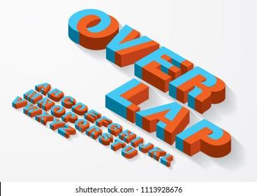 3 dimensional/ 3d overlap/intertwine typography design vector