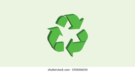 A 3 dimensional recycle logo in green color with green background
