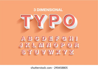 3 dimensional typography/typeface/font vector/illustration