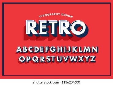3 dimensional/3d retro typography design vector/illustration