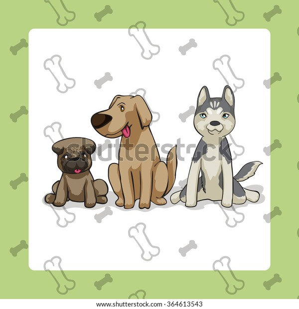 3 Dogs Sitting Vector Cartoon Style Stock Vector Royalty Free 364613543