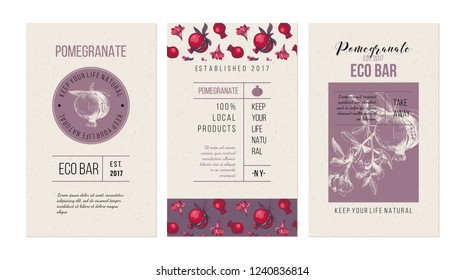 3 eco bar banners template with hand drawn pomegranates. Vector illustration