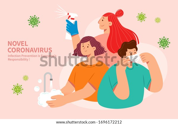 3 effective ways to prevent COVID-19 in flat style, including wearing face masks, washing hands, and using disinfectant spray