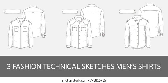 3 Fashion technical sketches men shirt with long sleeves and patch pockets in vector graphic