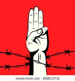 The 3 finger salute protest sign behind barbed wire on red background vector illustration. Protest against violence, injustice and dictatorship. Fight for democracy