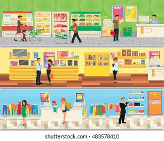 3 floor supermarket: food, electronics and clothing. people make shopping in the supermarket. vector illustration in flat style.