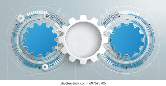 3 gear wheels with circuit diagram. Eps 10 vector file.