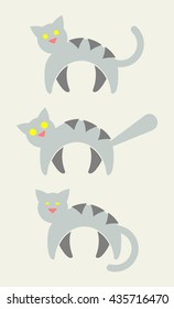3 Gray Striped Cat Vector Icons. Alert Cat, Scaredy Cat, Sleepy Cat