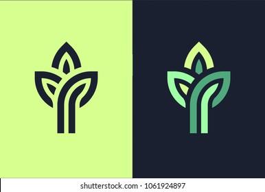 3 green leaf seedling growing plant logo.