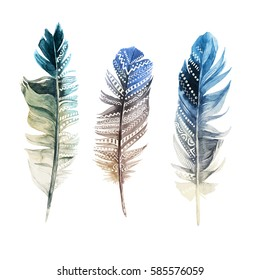 3 hand drawn watercolor feathers with ornaments on white background