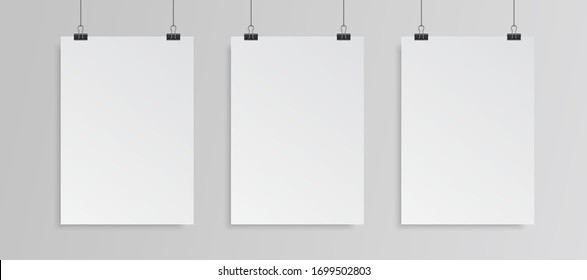 3 hanging blank posters mockup. Vector EPS 10.