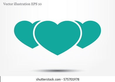 3 heart icon vector illustration eps10. Isolated badge for website or app - stock infographics.