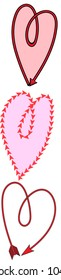 3 hearts made from arrows
