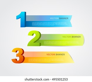 3 horizontal banners with numbers and place for own text.