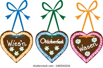 3 illustrated gingerbread hearts Oktoberfest with inscriptions: Oktoberfest, Wasen, Wies'n (tradition german names for festival)