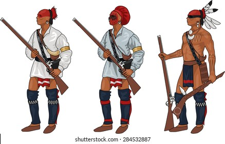 3 Iroquois Warriors with Weapons, Illustration Isolated on White Background, EPS 10 Vector