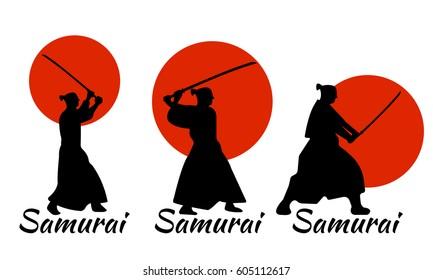 3 Japanese Samurai Warriors Silhouette with katana sword on Red Moon. Vector illustration.