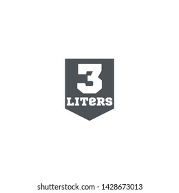 3 Liters l sign (l-mark) estimated volumes milliliters (ml) Vector symbol packaging, labels used for prepacked foods, drinks different liters and milliliters. 3 litre vol single icon isolated on white