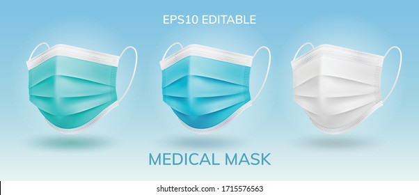 3 main color Solid Surgical masks in isolated vector