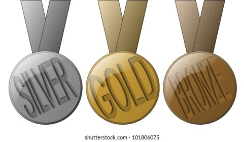 3 Medals - Gold, Silver and Bronze.