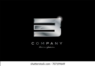 3 metal silver logo number on a black blackground