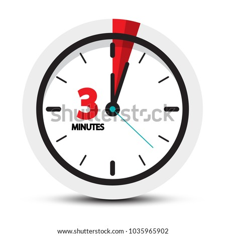 3 Minutes Icon. Clock Face with Three Minute Symbol.