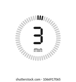 The 3 minutes, stopwatch vector icon, digital timer. clock and watch, timer, countdown symbol.
