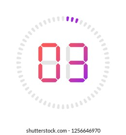 The 3 minutes, stopwatch vector icon, digital timer. Vector digital count down circle board with circle time pie diagram. Watch outline style design, designed for web and app.