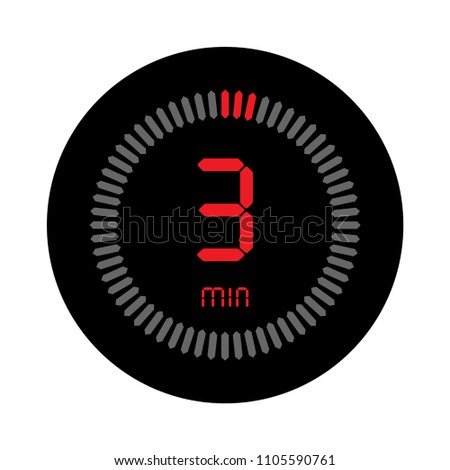 3 minutes stopwatch vector icon digital stock vector royalty free