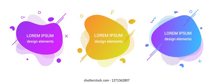 3 Modern liquid abstract element graphic gradient flat style design fluid vector colorful illustration set banner simple shape template for logo, presentation, flyer, isolated on white background.