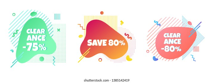 3 Modern liquid abstract special offer price sign 75%, 80%, 80% off DISCOUNT set text gradient flat style design fluid vector colorful vector illustration banners or flyer leflet icon.