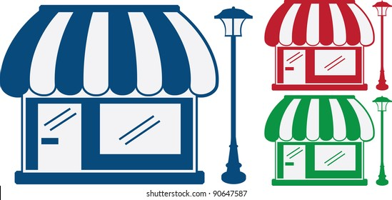 3 monochromatic shop fronts with awnings and light post