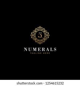3 Numerals Luxury elegant victorian floral filigree frame badge pattern with number 3 inside the circle badge emblem logo design vector in gold colors