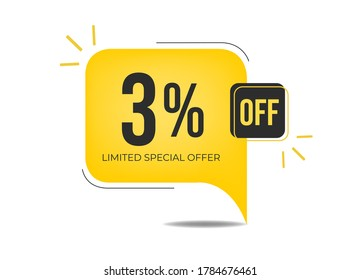 3% off limited special offer. Banner with three percent discount on a yellow square balloon.