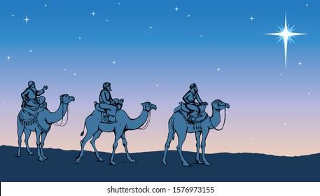3 old orient arab follow east comet to new born holy baby Jesus Christ in arabian Bethlehem present gift gold, frankincense, myrrh. Dark black ink hand drawn noel history icon backdrop card text space