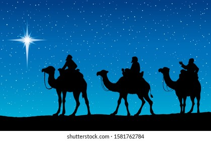 3 old orient arab follow east comet to new born holy baby Jesus Christ in arabian Bethlehem present gift gold frankincense, myrrh. Dark black hand drawn noel magy history icon backdrop card text space