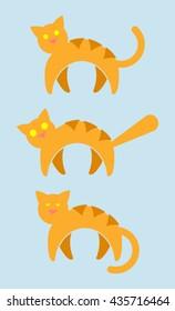 3 Orange Striped Cat Vector Icons. Alert Cat, Scaredy Cat, Sleepy Cat