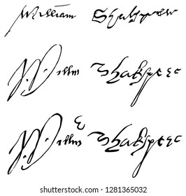 3 original signatures of William Shakespeare. He was an English poet, playwright and actor, widely regarded as the greatest author in English literature and the world's greatest dramatist.